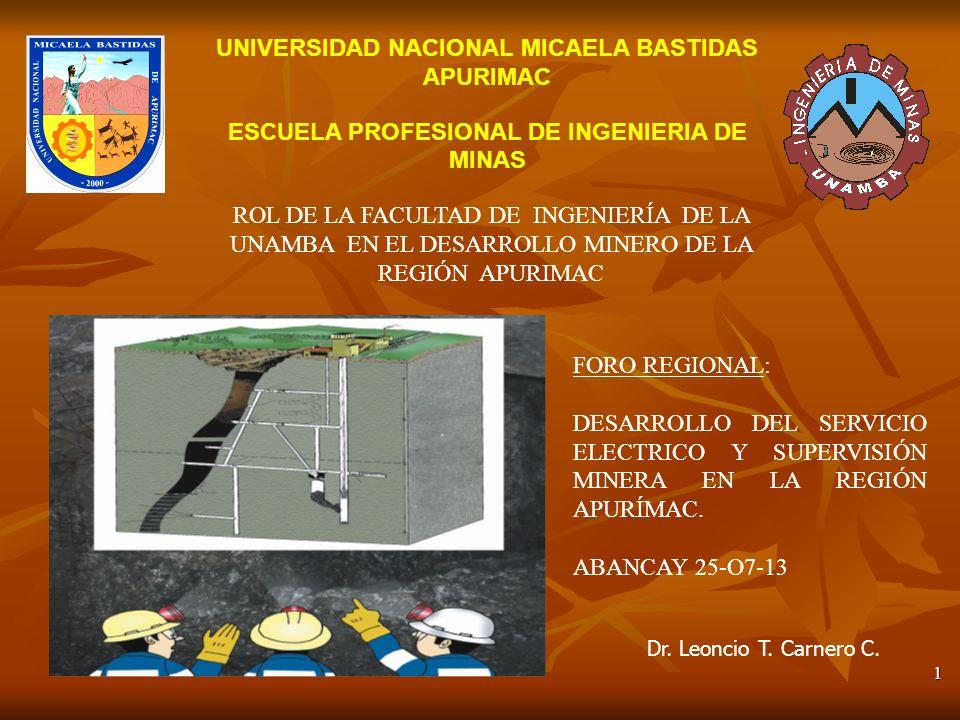 1 UNIVERSIDAD NACIONAL MICAELA BASTIDAS APURIMAC ESCUELA PROFESIONAL DE INGENIERIA DE MINAS Dr.
