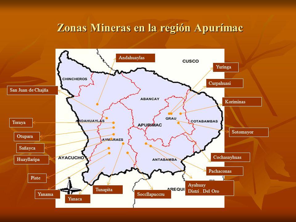 Zonas Mineras en la región Apurímac Andahuaylas San Juan de Chajña Yuringa Curpahuasi Koriminas Sotomayor Cochasayhuas Toraya Sañayca Huayllaripa Pachaconas Yanaca Tunapita Ayahuay Distri.