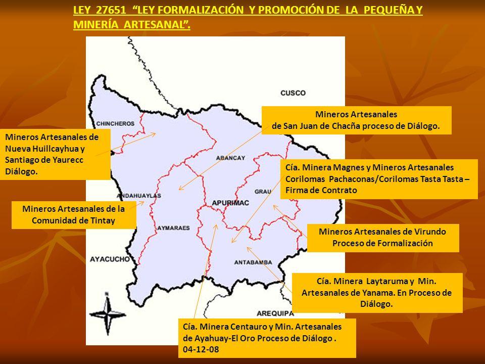 Mineros Artesanales de San Juan de Chacña proceso de Diálogo.