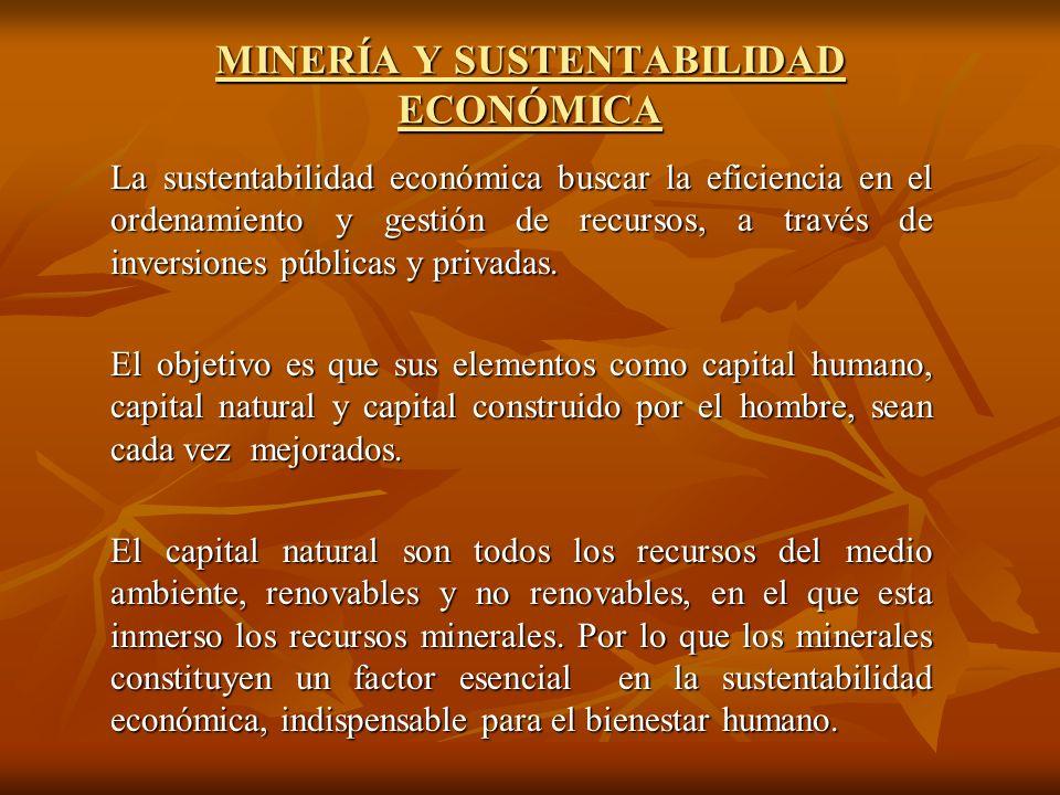MINERÍA Y SUSTENTABILIDAD ECONÓMICA La sustentabilidad económica buscar la eficiencia en el ordenamiento y gestión de recursos, a través de inversiones públicas y privadas.