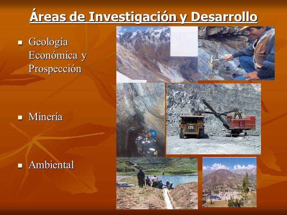 Áreas de Investigación y Desarrollo Geología Económica y Prospección Geología Económica y Prospección Minería Minería Ambiental Ambiental