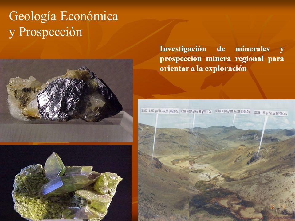 Investigación de minerales y prospección minera regional para orientar a la exploración Geología Económica y Prospección