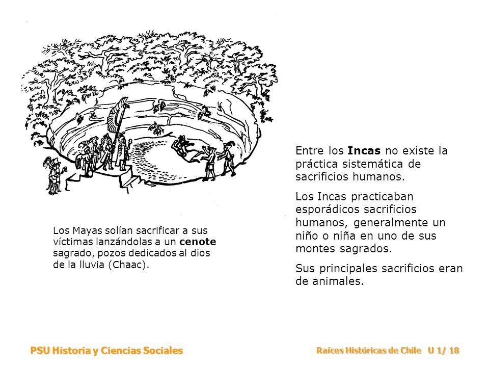 PSU Historia y Ciencias Sociales Raíces Históricas de Chile U 1/ 18 Los Mayas solían sacrificar a sus víctimas lanzándolas a un cenote sagrado, pozos dedicados al dios de la lluvia (Chaac).