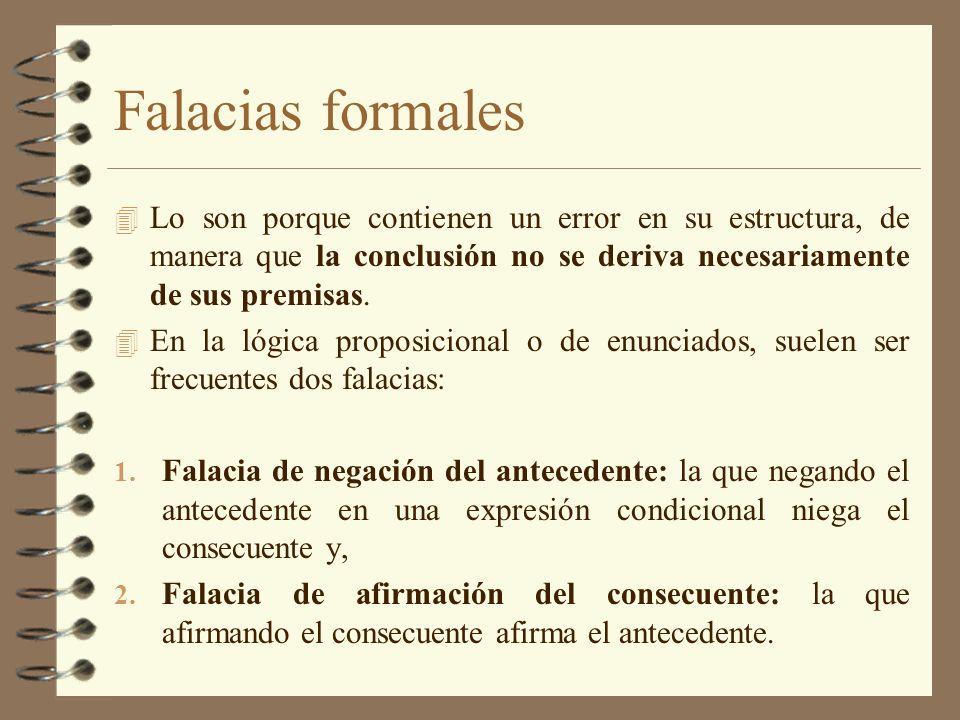 Falacias formales 4 Lo son porque contienen un error en su estructura, de manera que la conclusión no se deriva necesariamente de sus premisas. 4 En l