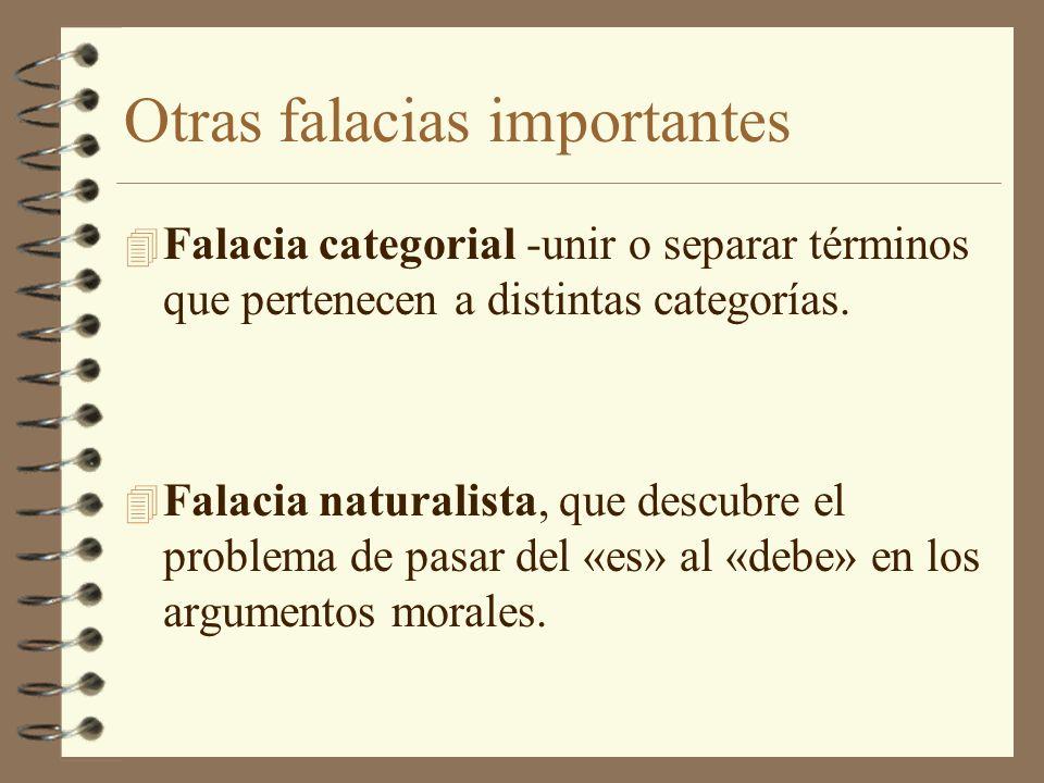 Otras falacias importantes 4 Falacia categorial -unir o separar términos que pertenecen a distintas categorías.