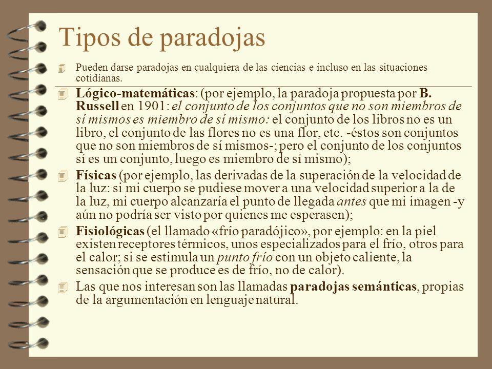Tipos de paradojas 4 Pueden darse paradojas en cualquiera de las ciencias e incluso en las situaciones cotidianas. 4 Lógico-matemáticas: (por ejemplo,