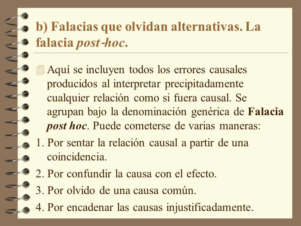 b) Falacias que olvidan alternativas. La falacia post hoc. 4 Aquí se incluyen todos los errores causales producidos al interpretar precipitadamente cu