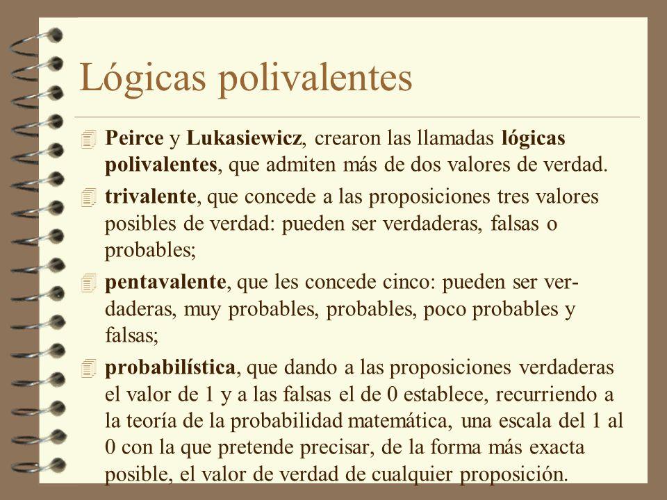 Lógicas polivalentes 4 Peirce y Lukasiewicz, crearon las llamadas lógicas polivalentes, que admiten más de dos valores de verdad. 4 trivalente, que co