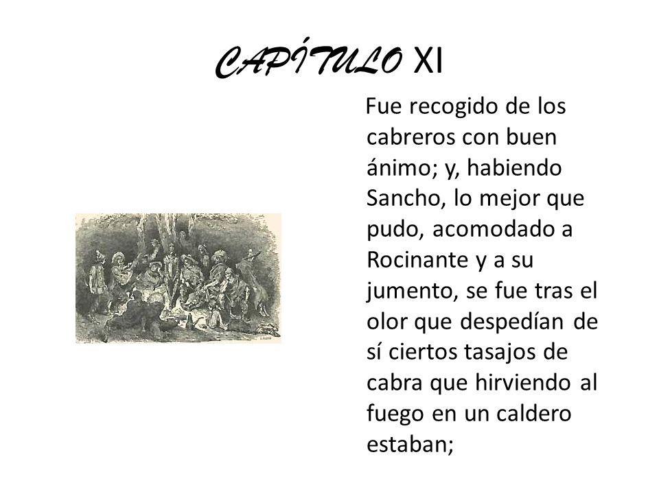 CAPÍTULO XI Fue recogido de los cabreros con buen ánimo; y, habiendo Sancho, lo mejor que pudo, acomodado a Rocinante y a su jumento, se fue tras el o