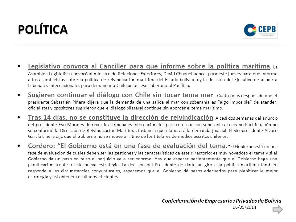 POLÍTICA Legislativo convoca al Canciller para que informe sobre la política marítima.