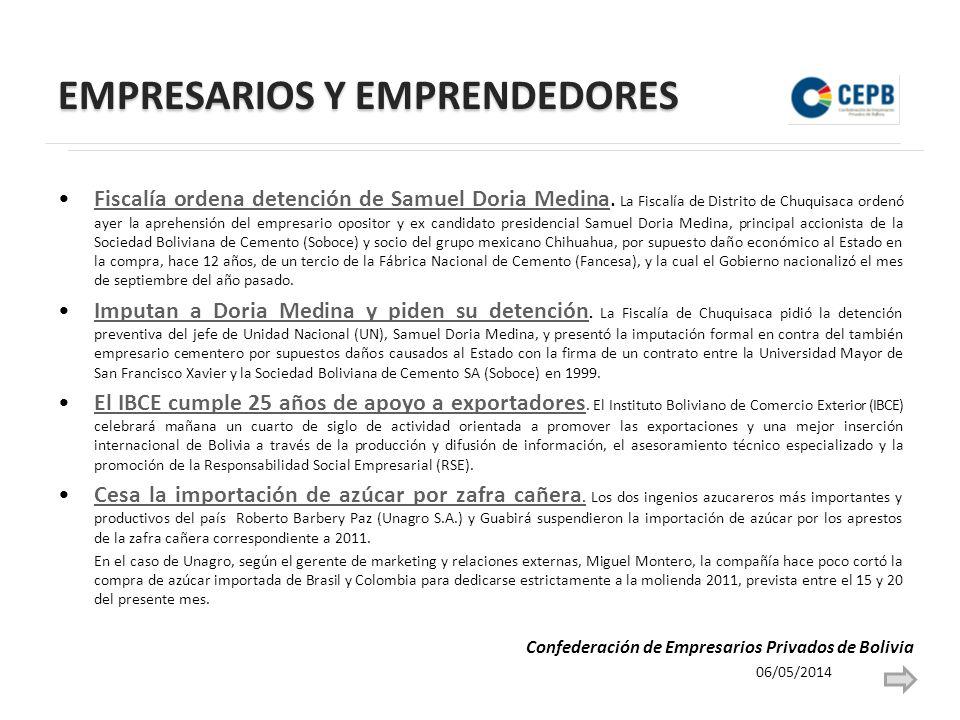 EMPRESARIOS Y EMPRENDEDORES Fiscalía ordena detención de Samuel Doria Medina.