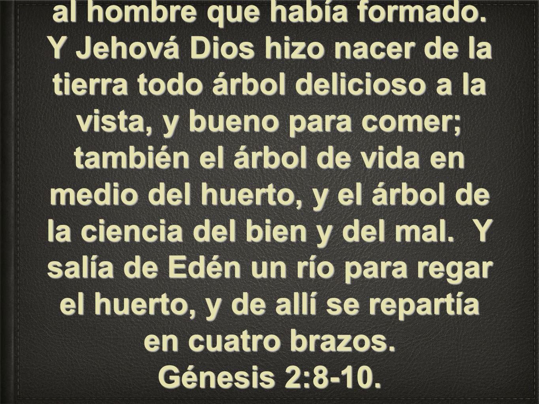 Y Jehová Dios plantó un huerto en Edén, al oriente; y puso allí al hombre que había formado. Y Jehová Dios hizo nacer de la tierra todo árbol delicios
