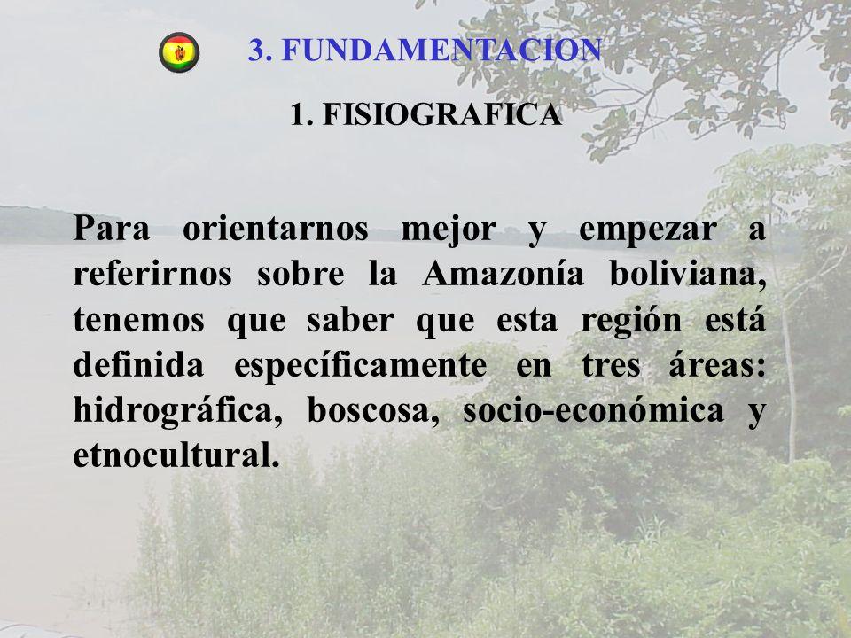 3. FUNDAMENTACION 1. FISIOGRAFICA Para orientarnos mejor y empezar a referirnos sobre la Amazonía boliviana, tenemos que saber que esta región está de