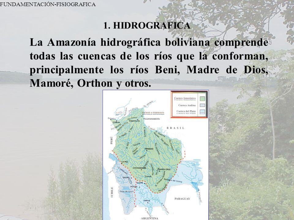 1. HIDROGRAFICA FUNDAMENTACIÓN-FISIOGRAFICA La Amazonía hidrográfica boliviana comprende todas las cuencas de los ríos que la conforman, principalment