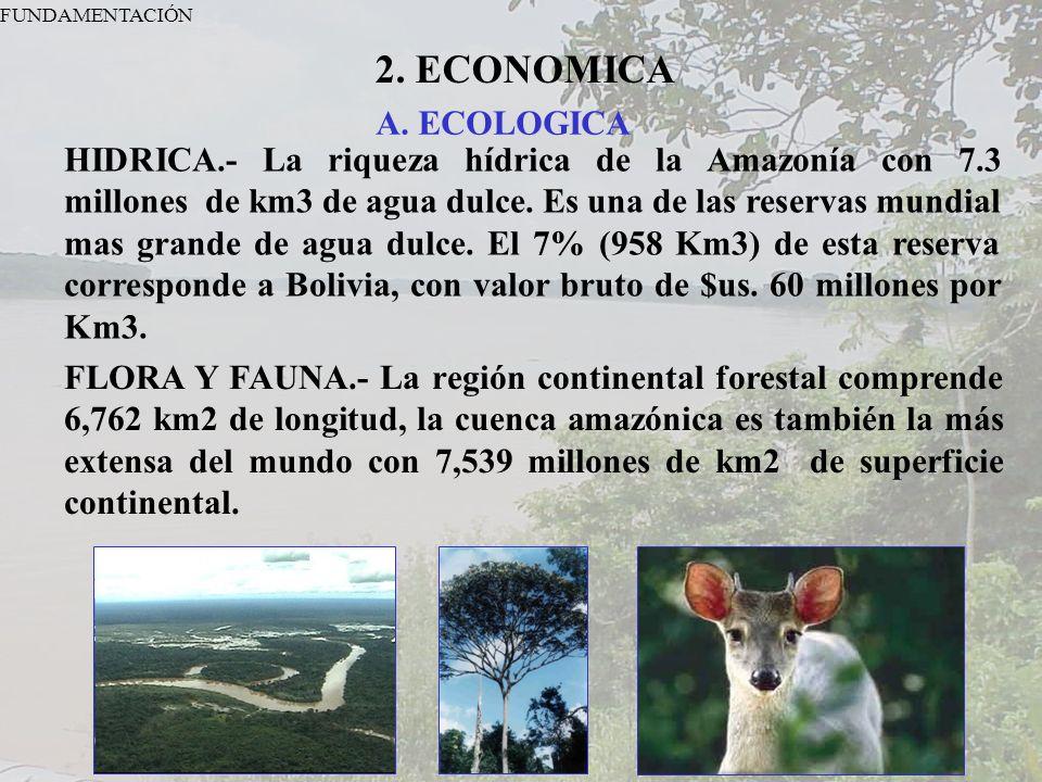 FUNDAMENTACIÓN 2. ECONOMICA A. ECOLOGICA HIDRICA.- La riqueza hídrica de la Amazonía con 7.3 millones de km3 de agua dulce. Es una de las reservas mun