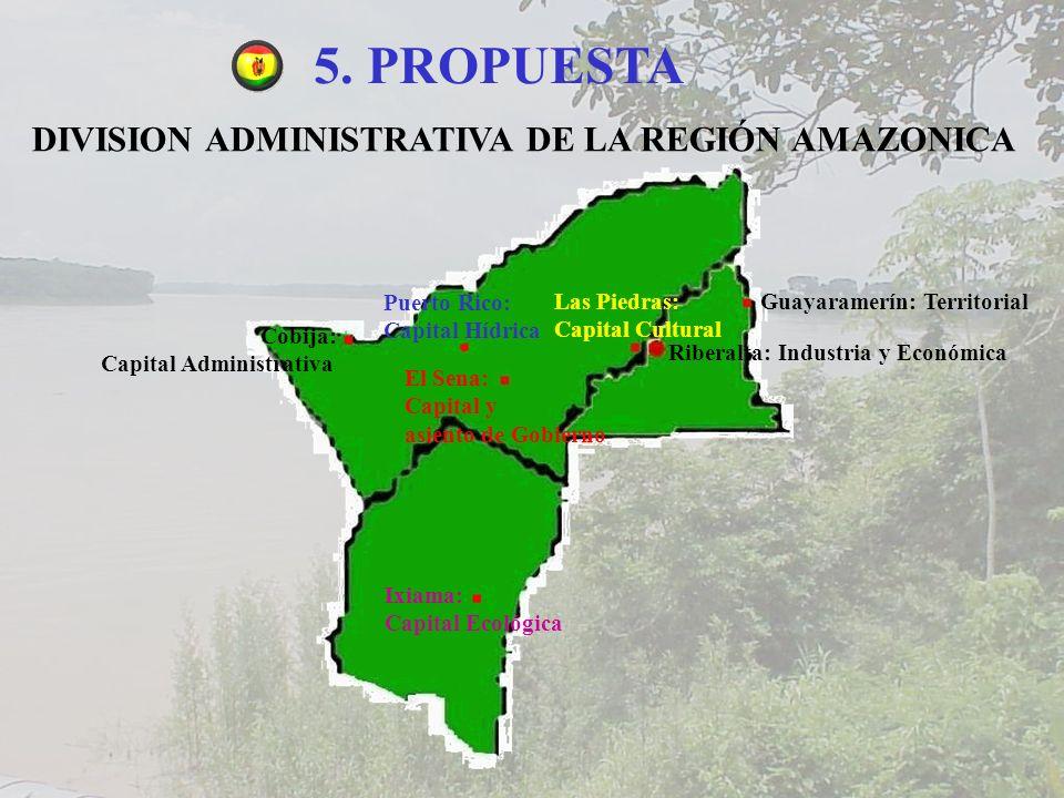 5. PROPUESTA DIVISION ADMINISTRATIVA DE LA REGIÓN AMAZONICA Cobija: Capital Administrativa Guayaramerín: Territorial El Sena: Capital y asiento de Gob