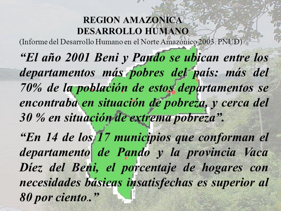 REGION AMAZONICA DESARROLLO HUMANO El año 2001 Beni y Pando se ubican entre los departamentos más pobres del país: más del 70% de la población de esto