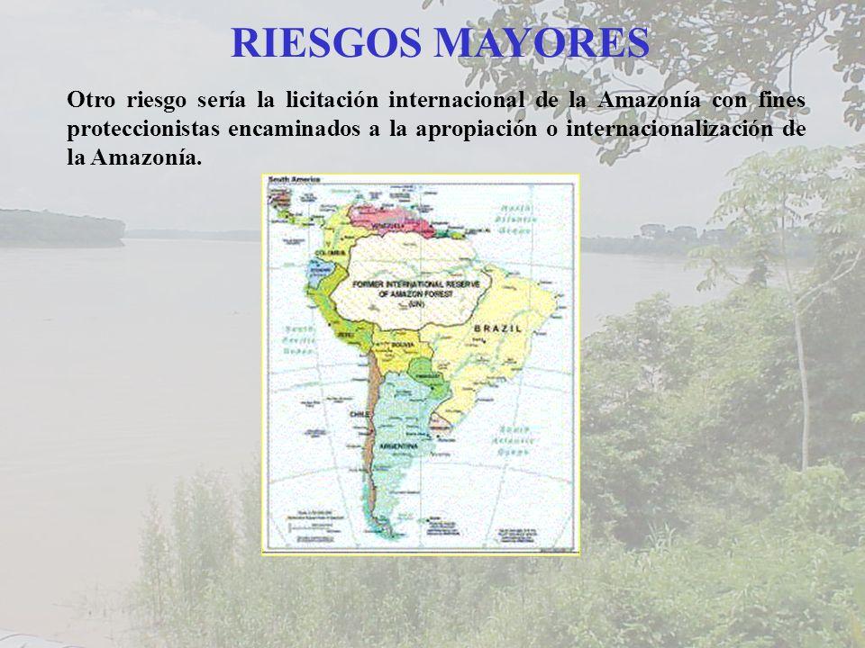 RIESGOS MAYORES Otro riesgo sería la licitación internacional de la Amazonía con fines proteccionistas encaminados a la apropiación o internacionalización de la Amazonía.