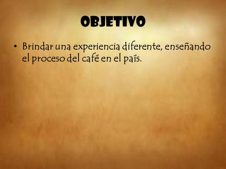 Objetivo Brindar una experiencia diferente, enseñando el proceso del café en el país.