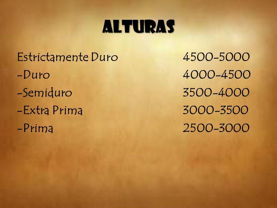 ALTURAS Estrictamente Duro 4500-5000 -Duro 4000-4500 -Semiduro3500-4000 -Extra Prima3000-3500 -Prima2500-3000