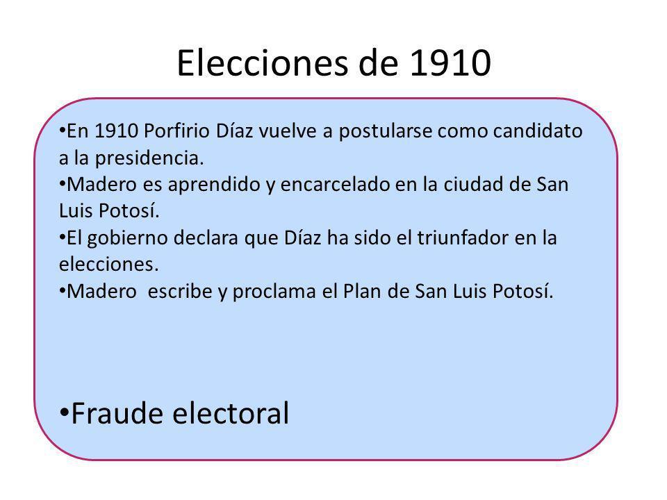 Elecciones de 1910 En 1910 Porfirio Díaz vuelve a postularse como candidato a la presidencia. Madero es aprendido y encarcelado en la ciudad de San Lu