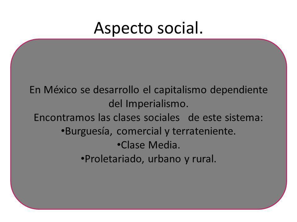 Aspecto social. En México se desarrollo el capitalismo dependiente del Imperialismo. Encontramos las clases sociales de este sistema: Burguesía, comer