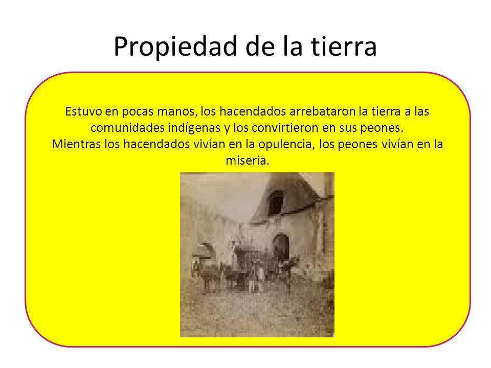 Propiedad de la tierra Estuvo en pocas manos, los hacendados arrebataron la tierra a las comunidades indígenas y los convirtieron en sus peones. Mient