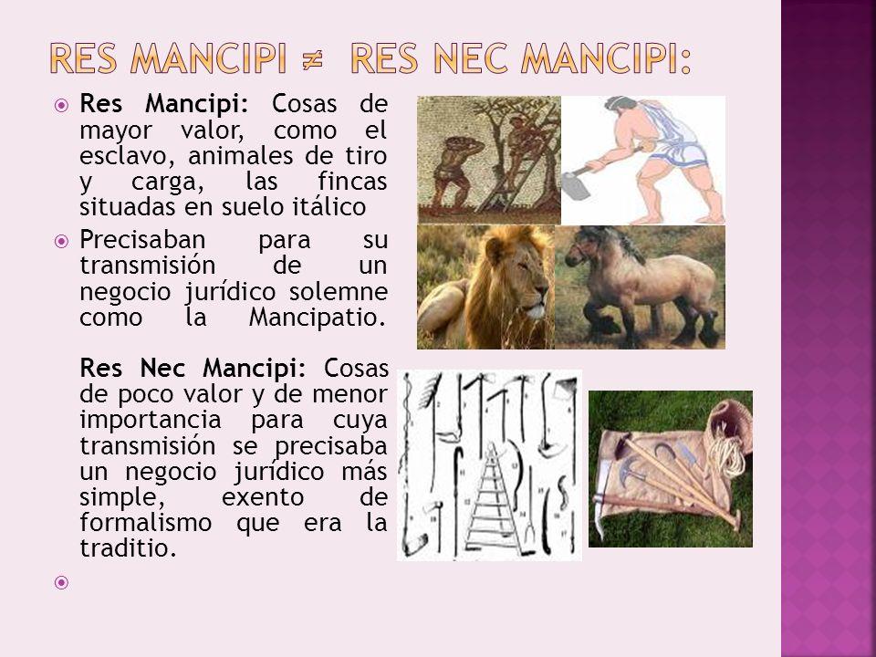 Res Mancipi: Cosas de mayor valor, como el esclavo, animales de tiro y carga, las fincas situadas en suelo itálico Precisaban para su transmisión de u