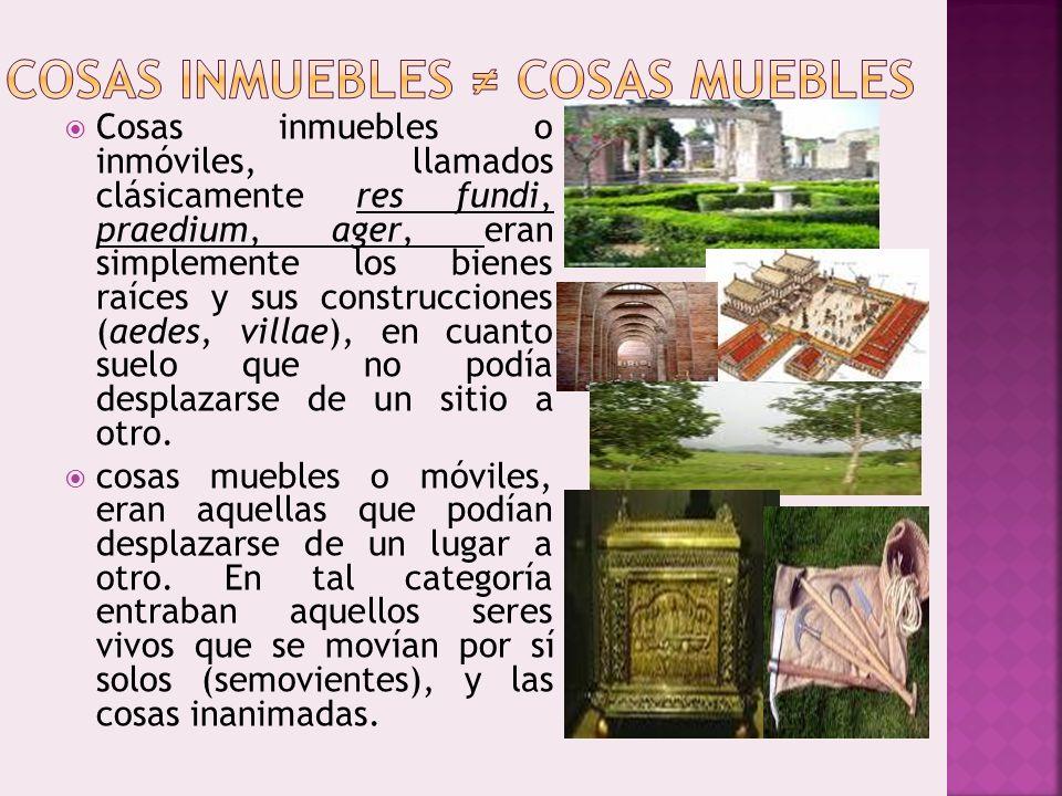 Cosas inmuebles o inmóviles, llamados clásicamente res fundi, praedium, ager, eran simplemente los bienes raíces y sus construcciones (aedes, villae),