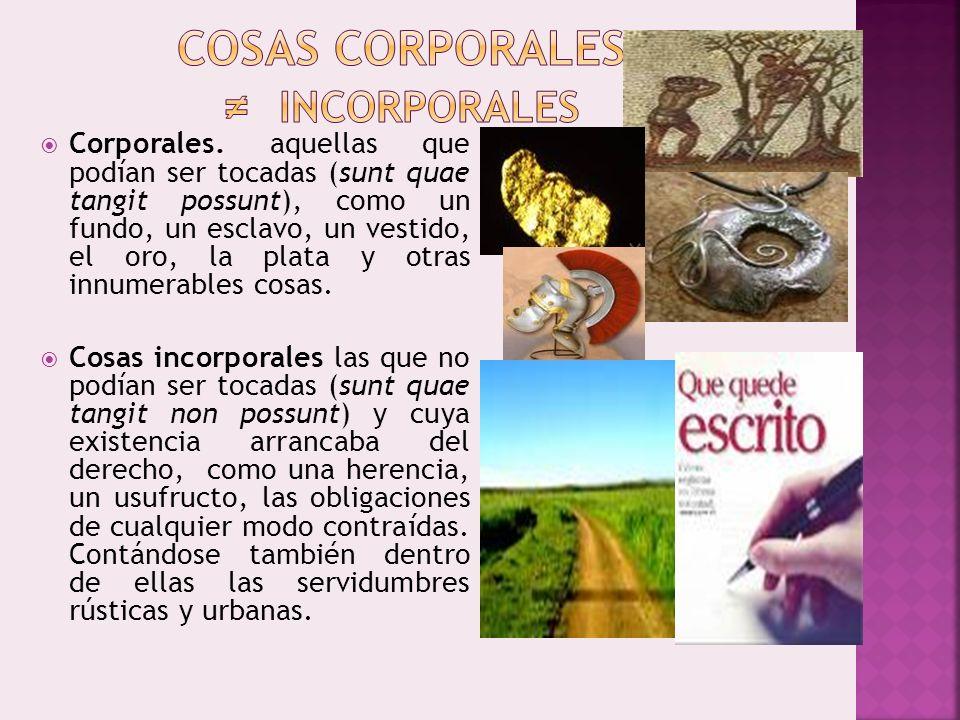 Corporales. aquellas que podían ser tocadas (sunt quae tangit possunt), como un fundo, un esclavo, un vestido, el oro, la plata y otras innumerables c