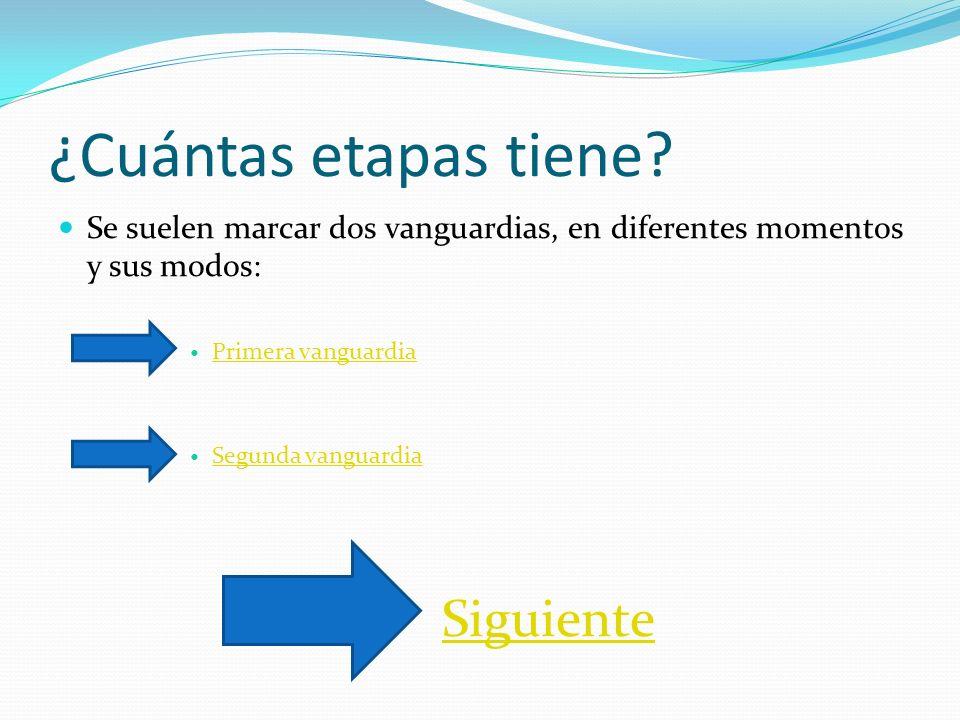 ¿Cuántas etapas tiene? Se suelen marcar dos vanguardias, en diferentes momentos y sus modos: Primera vanguardia Primera vanguardia Segunda vanguardia