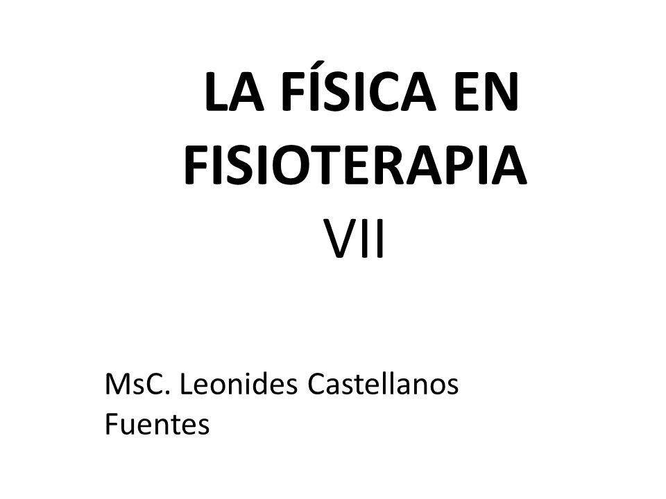 LA FÍSICA EN FISIOTERAPIA VII MsC. Leonides Castellanos Fuentes