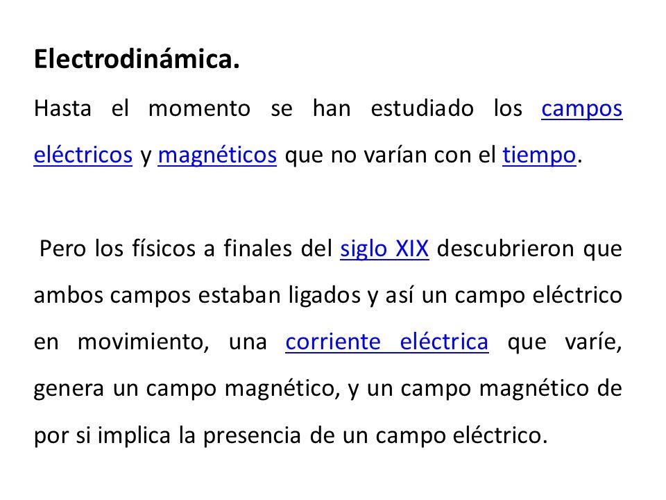 Electrodinámica. Hasta el momento se han estudiado los campos eléctricos y magnéticos que no varían con el tiempo.campos eléctricosmagnéticostiempo Pe