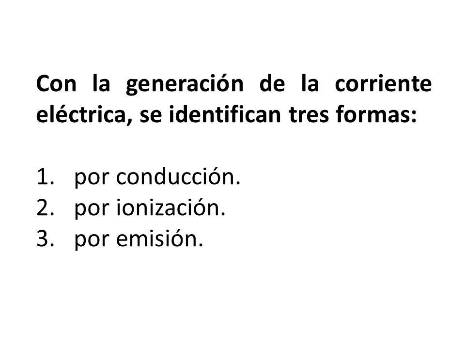 Con la generación de la corriente eléctrica, se identifican tres formas: 1.por conducción. 2.por ionización. 3.por emisión.