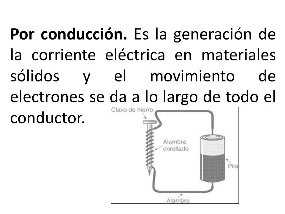 Por conducción. Es la generación de la corriente eléctrica en materiales sólidos y el movimiento de electrones se da a lo largo de todo el conductor.