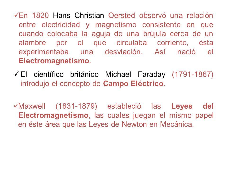 En 1820 Hans Christian Oersted observó una relación entre electricidad y magnetismo consistente en que cuando colocaba la aguja de una brújula cerca d