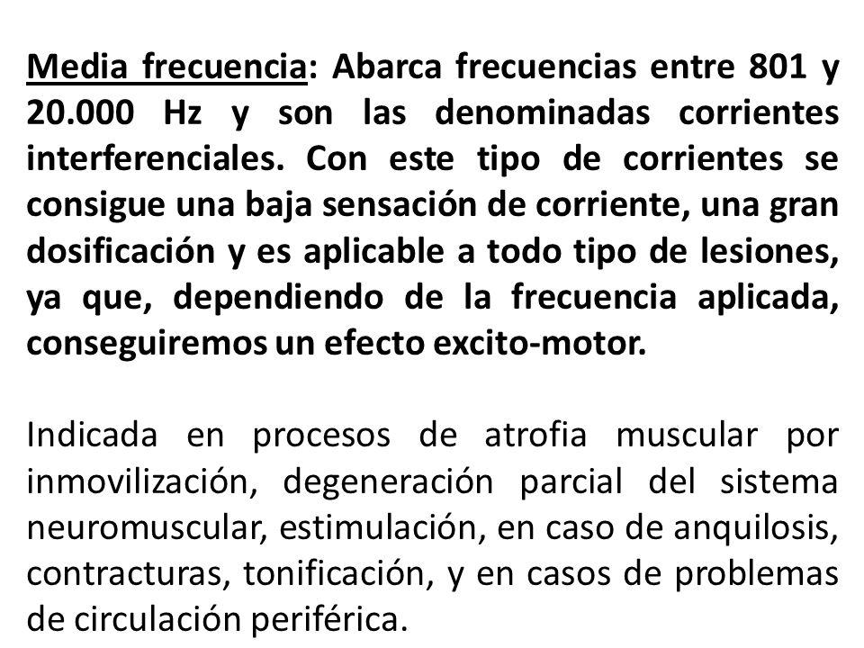 Media frecuencia: Abarca frecuencias entre 801 y 20.000 Hz y son las denominadas corrientes interferenciales. Con este tipo de corrientes se consigue
