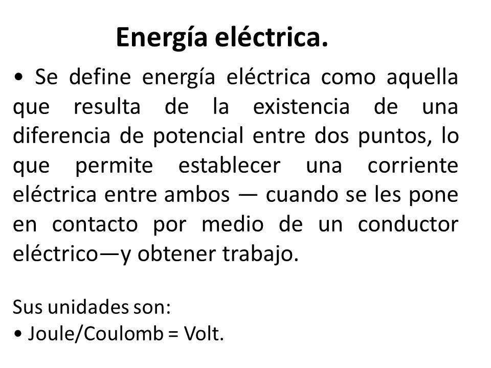 Se define energía eléctrica como aquella que resulta de la existencia de una diferencia de potencial entre dos puntos, lo que permite establecer una c