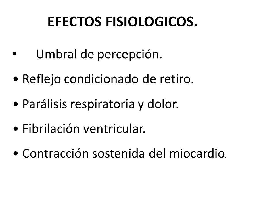 EFECTOS FISIOLOGICOS. Umbral de percepción. Reflejo condicionado de retiro. Parálisis respiratoria y dolor. Fibrilación ventricular. Contracción soste