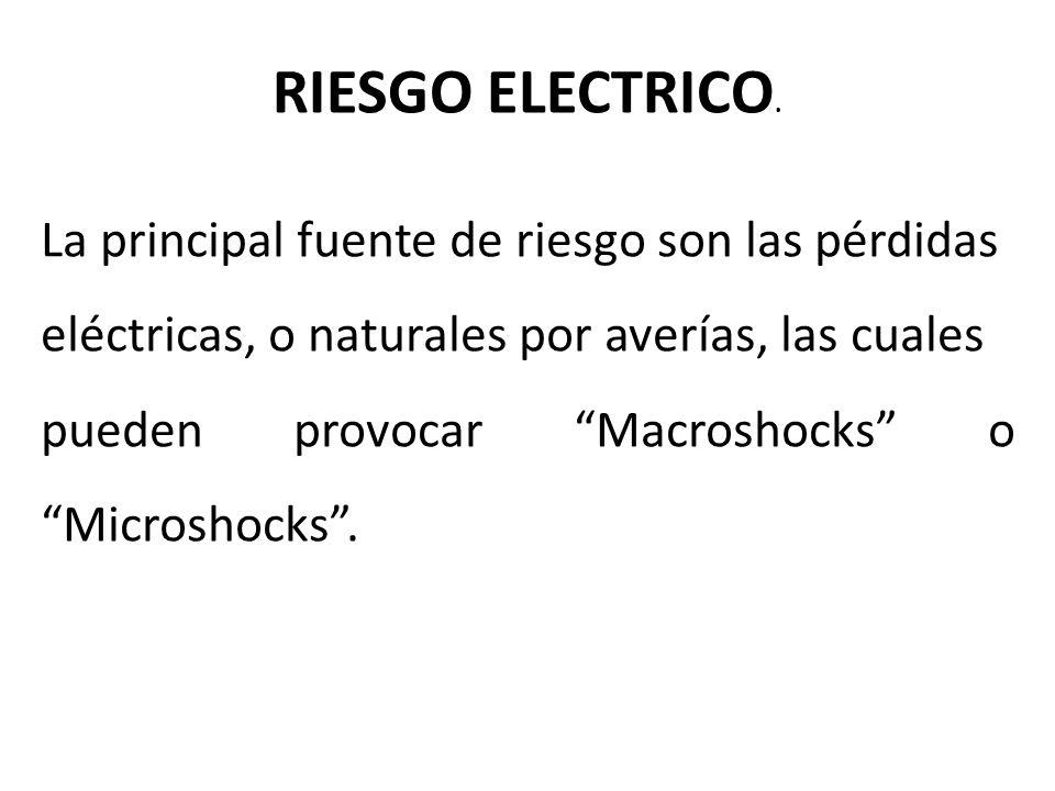RIESGO ELECTRICO. La principal fuente de riesgo son las pérdidas eléctricas, o naturales por averías, las cuales pueden provocar Macroshocks o Microsh