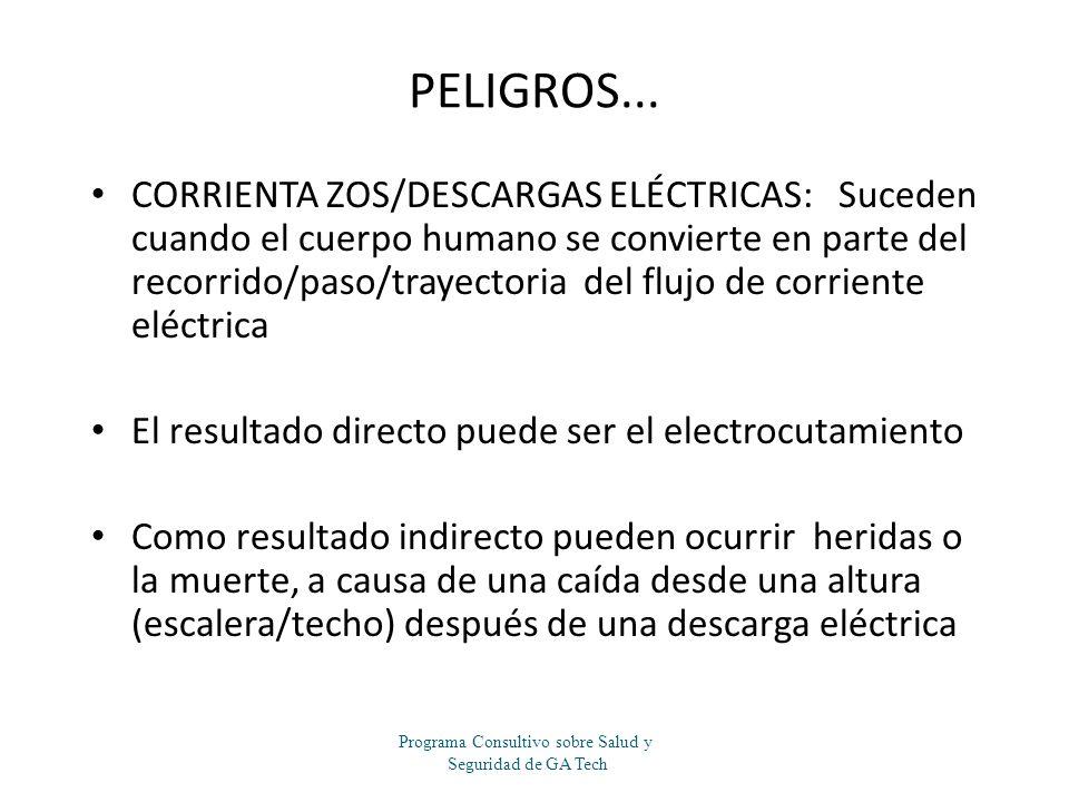 PELIGROS... CORRIENTA ZOS/DESCARGAS ELÉCTRICAS: Suceden cuando el cuerpo humano se convierte en parte del recorrido/paso/trayectoria del flujo de corr