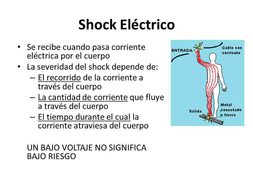 Shock Eléctrico Se recibe cuando pasa corriente eléctrica por el cuerpo La severidad del shock depende de: – El recorrido de la corriente a través del
