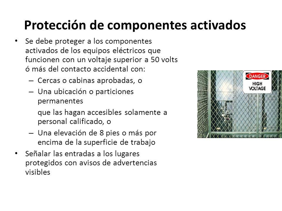 Protección de componentes activados Se debe proteger a los componentes activados de los equipos eléctricos que funcionen con un voltaje superior a 50