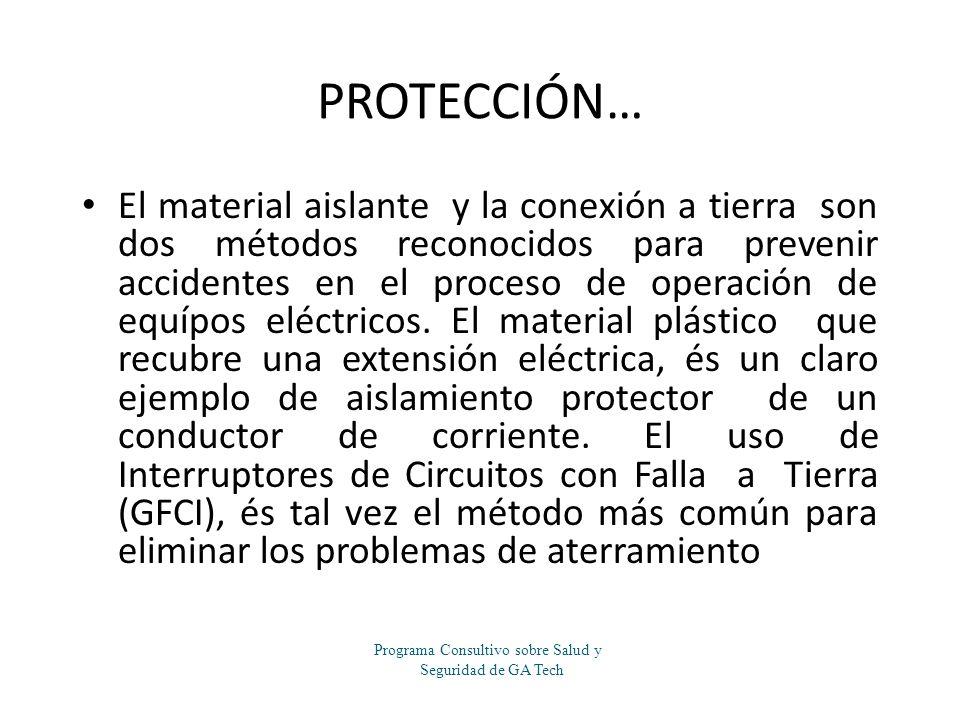 PROTECCIÓN… El material aislante y la conexión a tierra son dos métodos reconocidos para prevenir accidentes en el proceso de operación de equípos elé