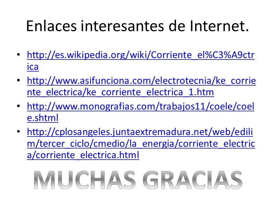Enlaces interesantes de Internet. http://es.wikipedia.org/wiki/Corriente_el%C3%A9ctr ica http://es.wikipedia.org/wiki/Corriente_el%C3%A9ctr ica http:/