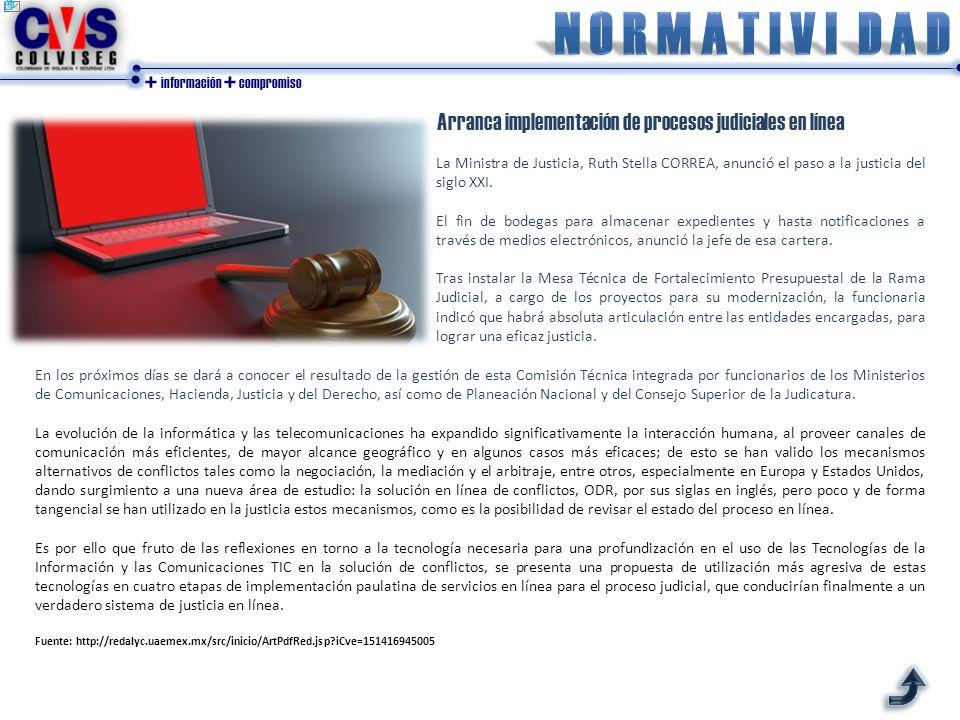 + información + compromiso Arranca implementación de procesos judiciales en línea La Ministra de Justicia, Ruth Stella CORREA, anunció el paso a la ju