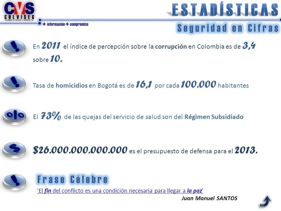 + información + compromiso 'El fin del conflicto es una condición necesaria para llegar a la paz' Juan Manuel SANTOS En 2011 el índice de percepción s