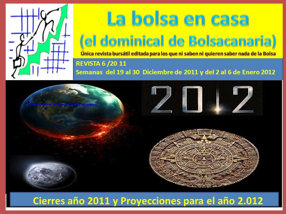 Semana del 19 al 30 de Diciembre de 2.011 Cierre del EURO STOXX 50 ordenado por ganancias anuales II Fuente: www.invertia.com