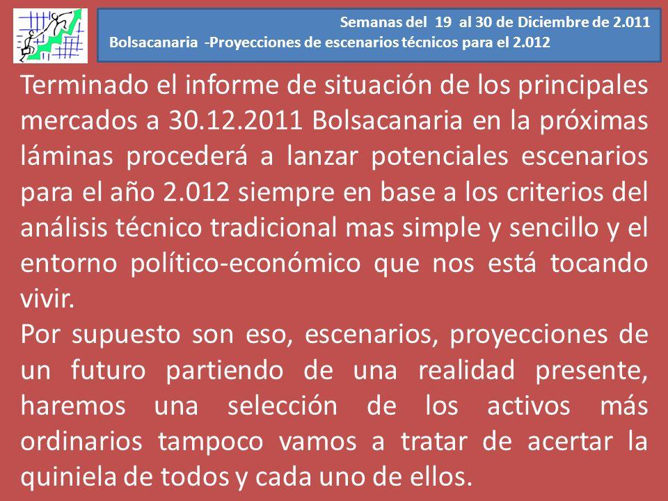 Semanas del 19 al 30 de Diciembre de 2.011 Bolsacanaria -Proyecciones de escenarios técnicos para el 2.012 Terminado el informe de situación de los pr