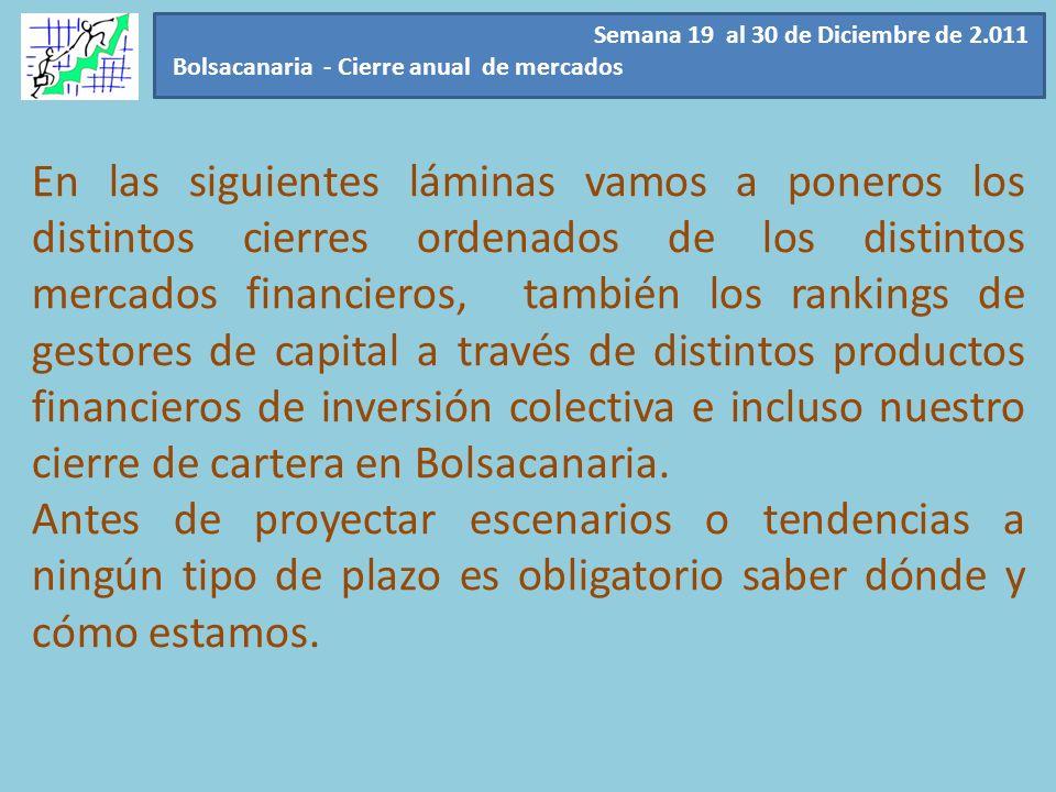 Semana 19 al 30 de Diciembre de 2.011 Bolsacanaria - Cierre anual de mercados En las siguientes láminas vamos a poneros los distintos cierres ordenado